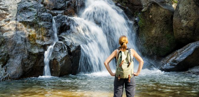 hiking with waterfalls