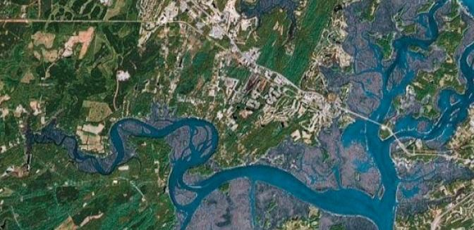 Aerial view of Bluffton rivers