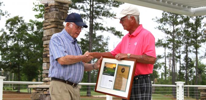 Bobby Harrelson Accepts Golf Course Award